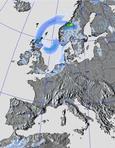 srážky nad Evropou